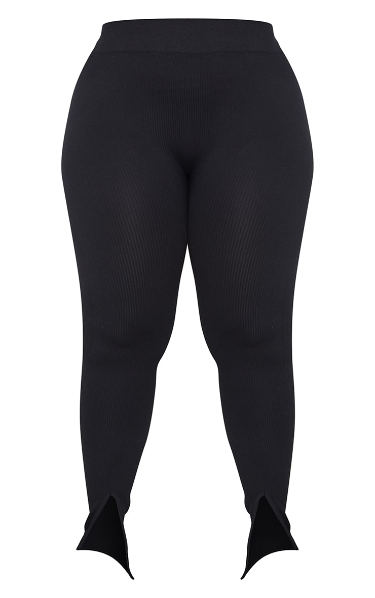 Plus Black Structured Contour Rib Split Hem Leggings 5