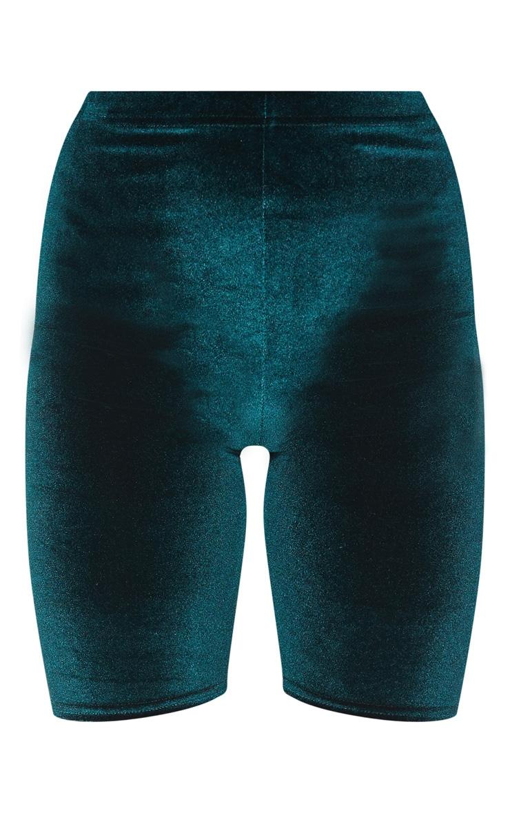 Emerald Green Basic Velvet Cycle Shorts 3