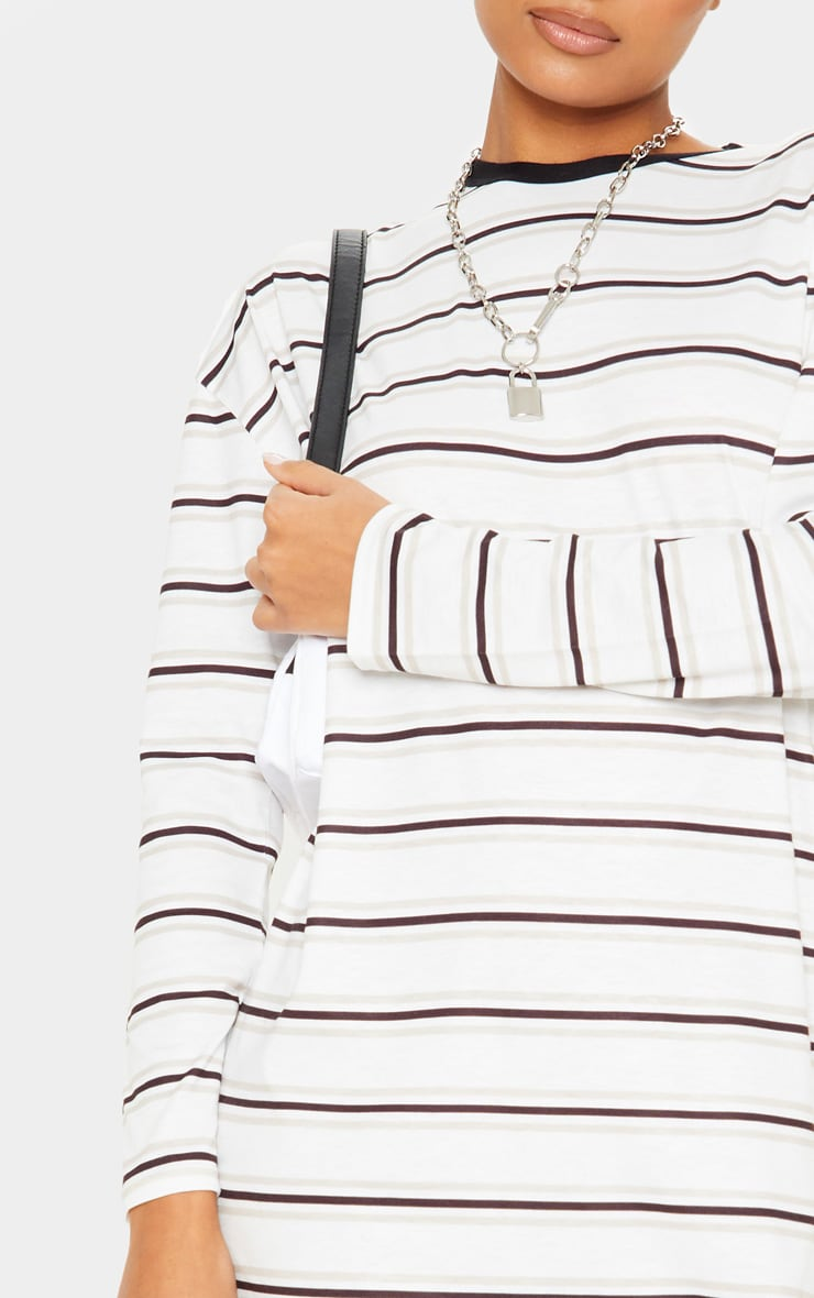 White Contrast Stripe Long Sleeve T Shirt Dress 5
