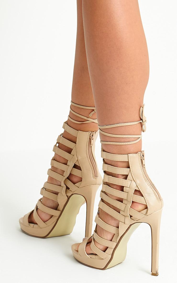 Adria Nude PU Strappy Platform Heels 2