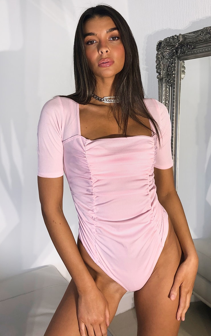 Baby Pink Ruched Short Sleeve Bodysuit 2
