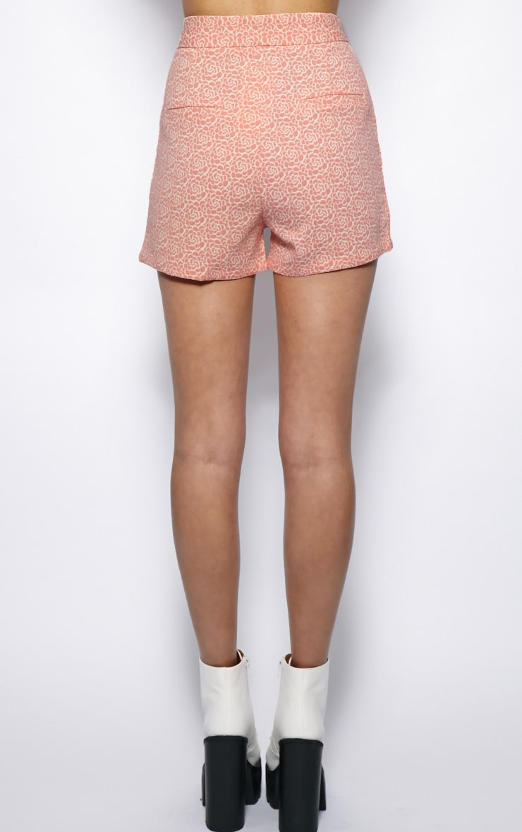 Shannon Pink Floral Print High Waist Shorts  2