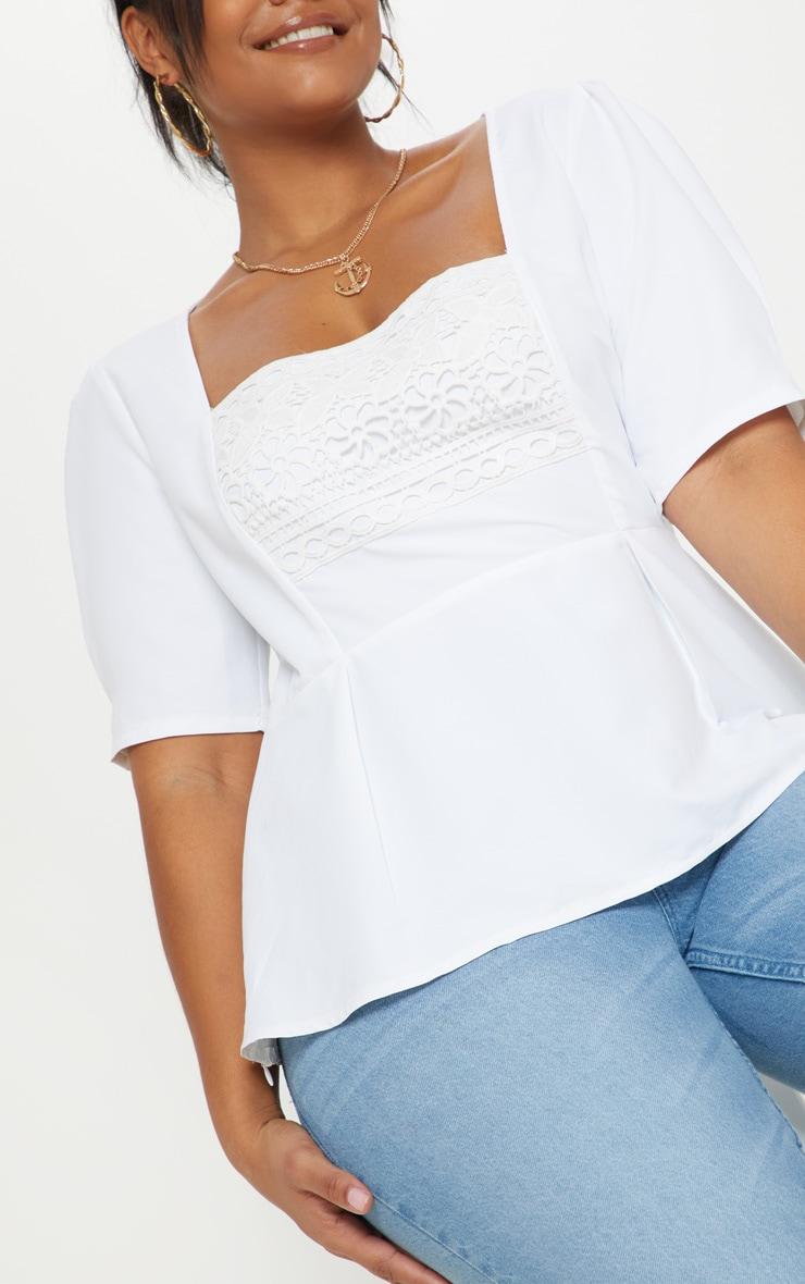 Plus White Crochet Detail Short Sleeve Top 5