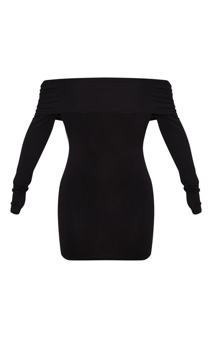 Black Ruched Shoulder Bardot Bodycon Dress 3