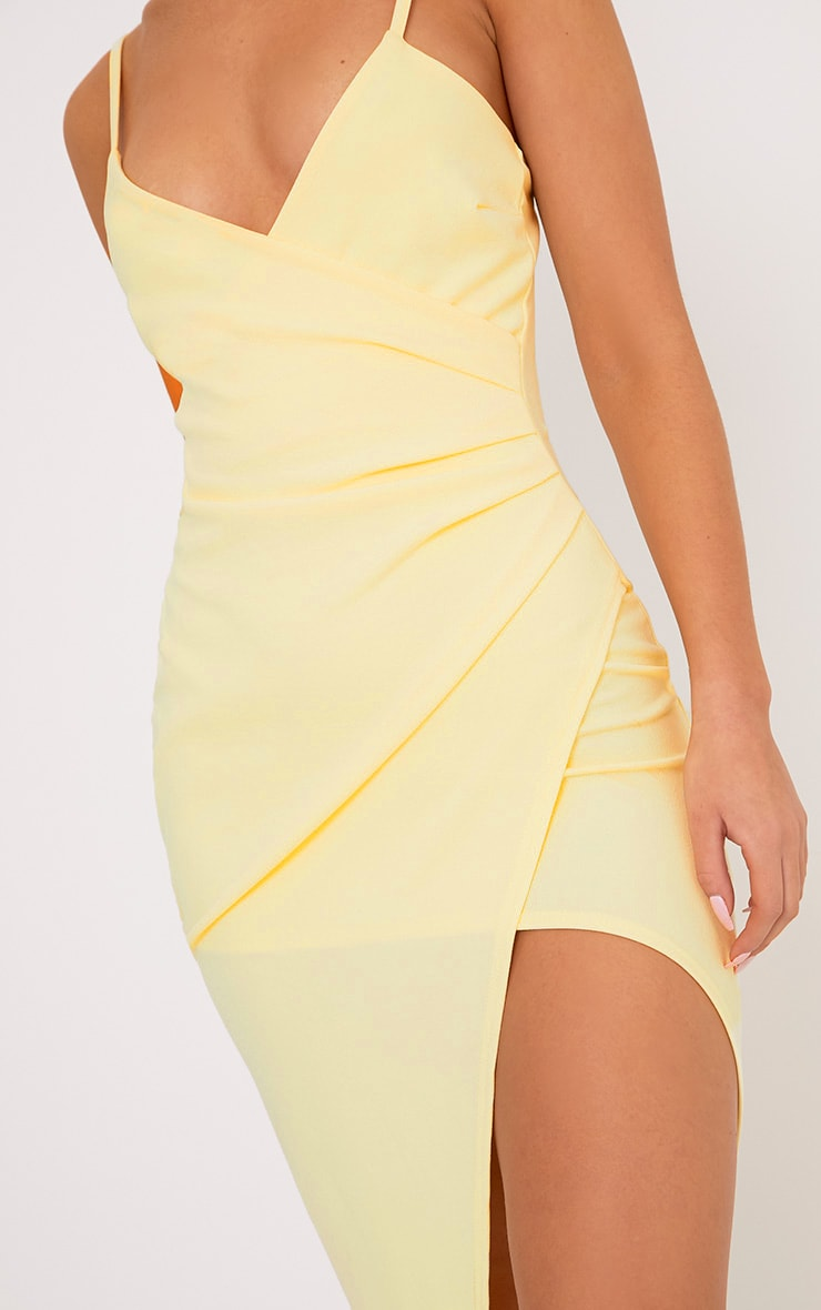 Lauriell Lemon Wrap Front Crepe Midi Dress 5