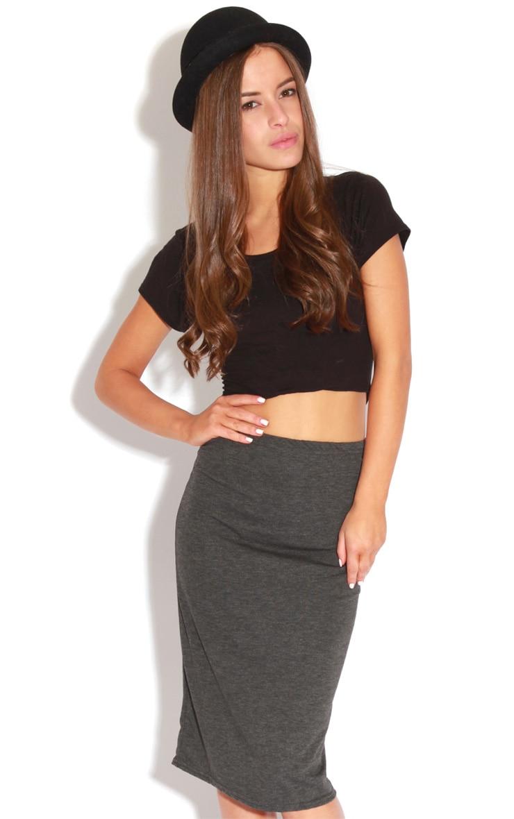Marie Charcoal Basic Midi Skirt 3