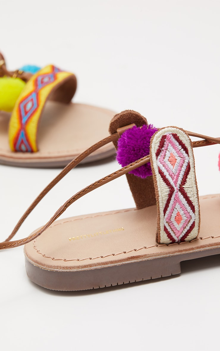 Tan Embroidered Ghillie Sandals 3