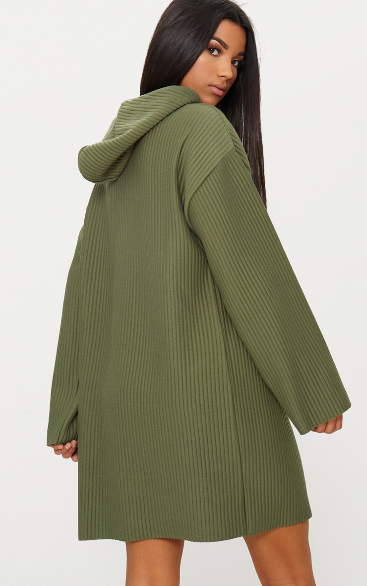 Khaki Ribbed Hooded Sweater Dress 2