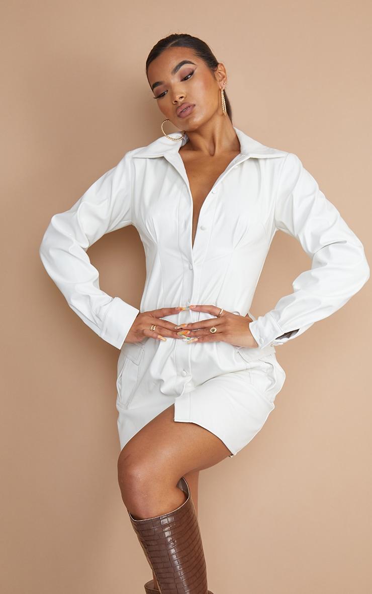 Ecru PU Long Sleeve Button Through Shirt Dress 1