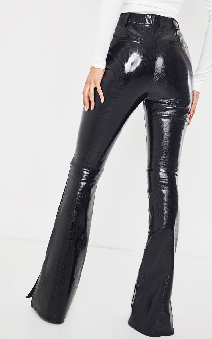 Black Croc Faux Leather Flared Trousers 3