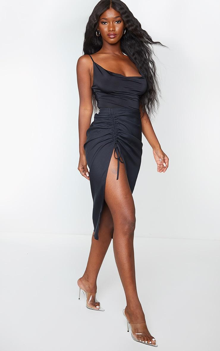 Black Woven Ruched Detail Midi Skirt 1