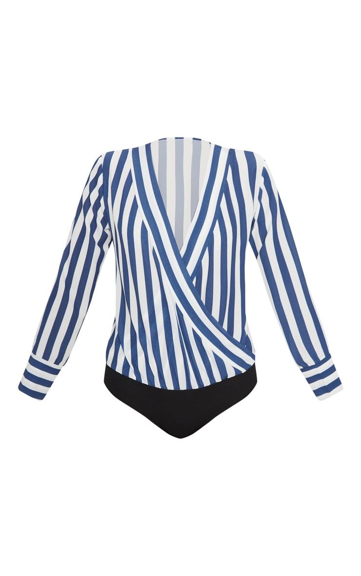 Navy Stripe Plunge Bodysuit 3