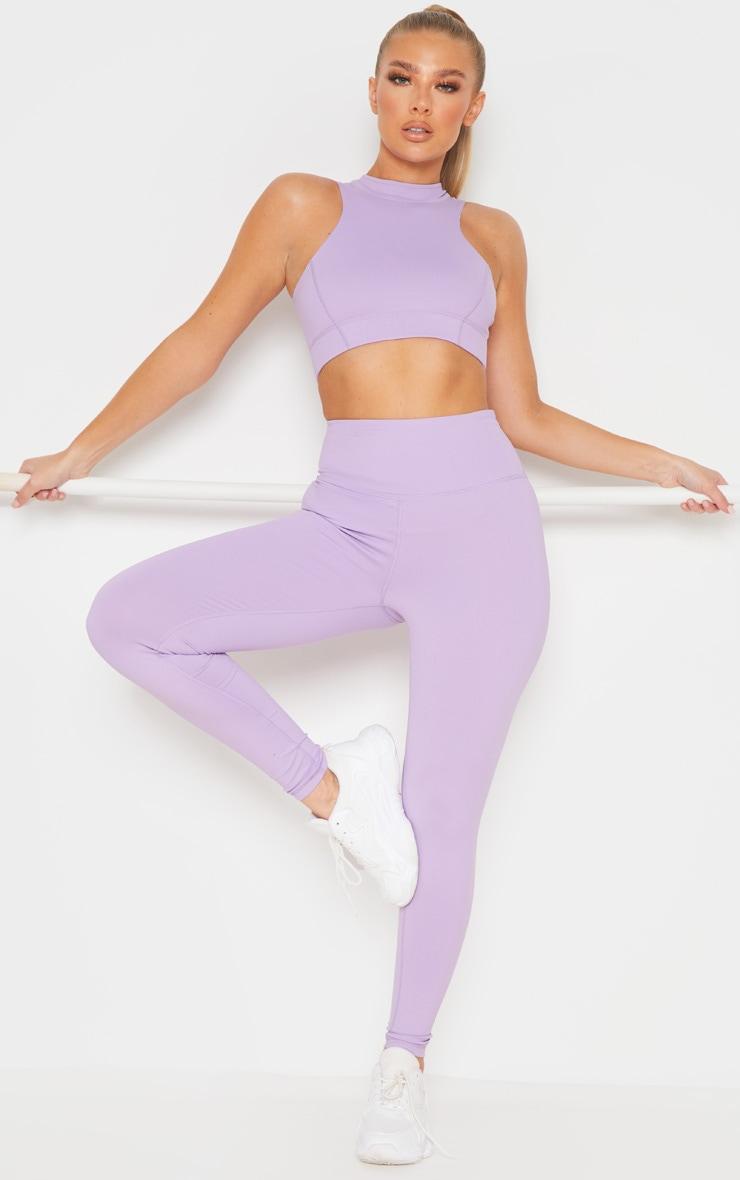 Lilac High Neck Zip Back Gym Crop Top 3