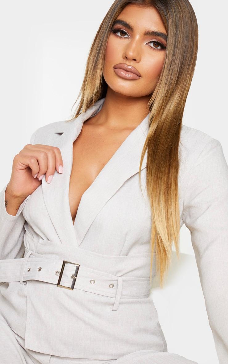 Grey Belted Waist Detail Woven Blazer Jumpsuit 4