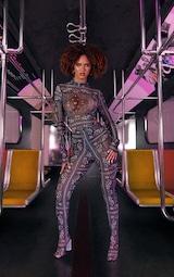 Black Paisley Printed Mesh Bodysuit 4