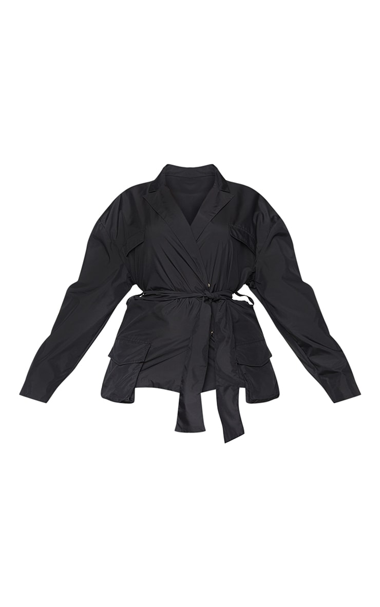 Plus Black Shell Tie Front Cropped Jacket 5