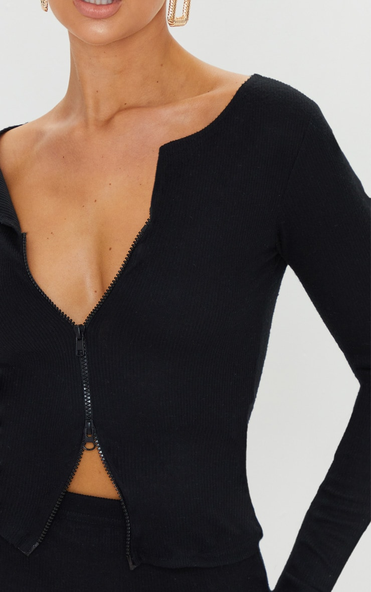 Black Soft Brushed Rib Double Zip Front Top 4