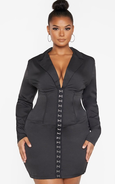 Plus Black Eyelet Detail Corset Bodycon Dress