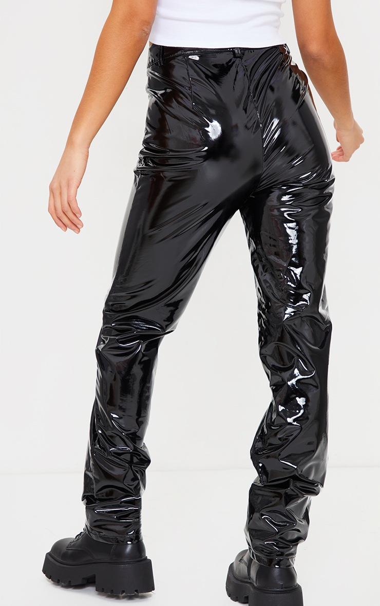 Petite Black Straight Leg Vinyl Trousers 3