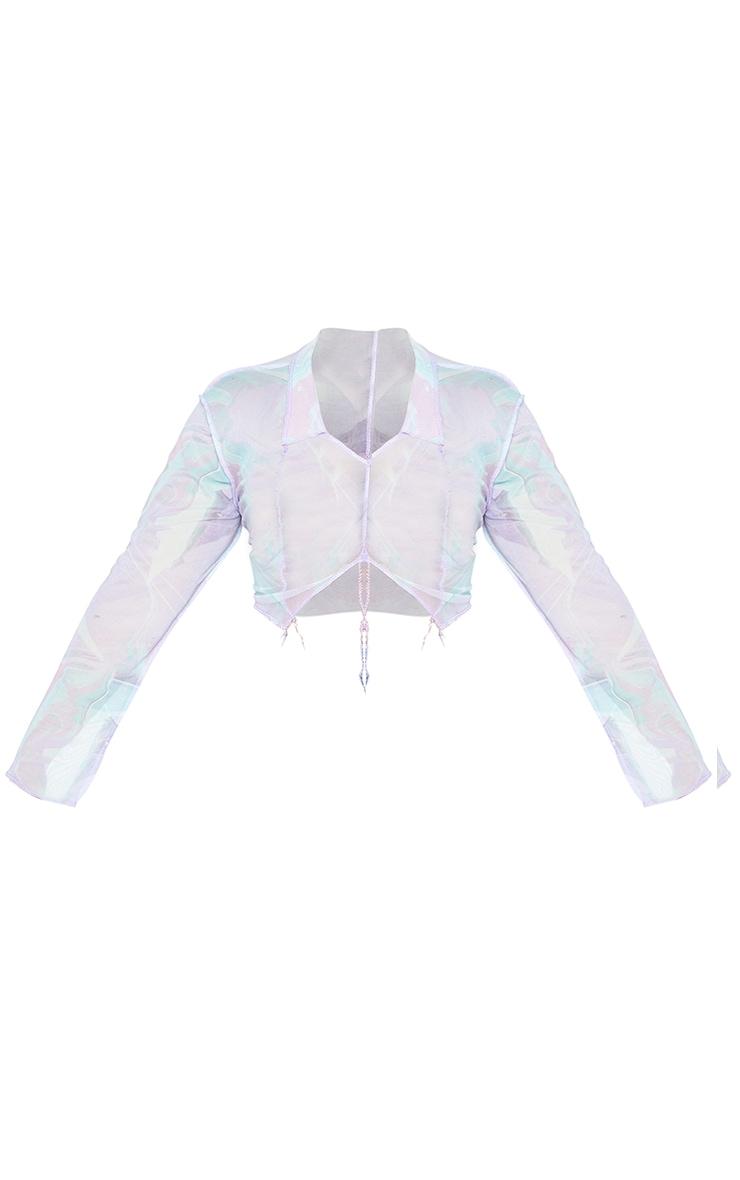 Plus Lilac Tie Dye Contrast Stitch Long Sleeve Top 5