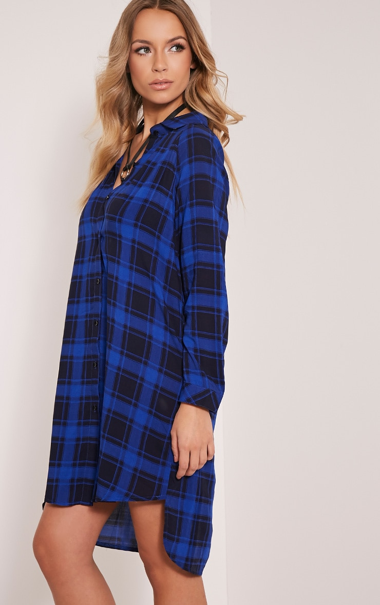 Ronah Cobalt Checked Shirt Dress 4