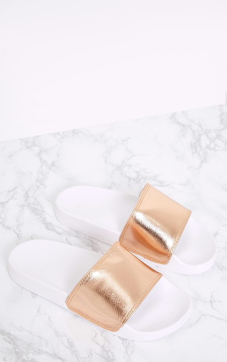 Jenetta Rose Gold Metallic Sliders 1