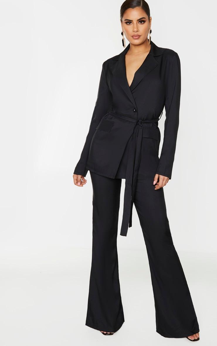Tall Black Tie Waist Button Up Blazer 1