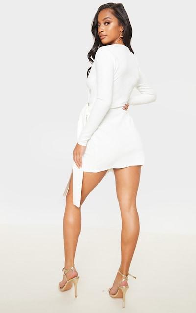 Petite Cream Woven Tie Wrap Long Sleeve Dress