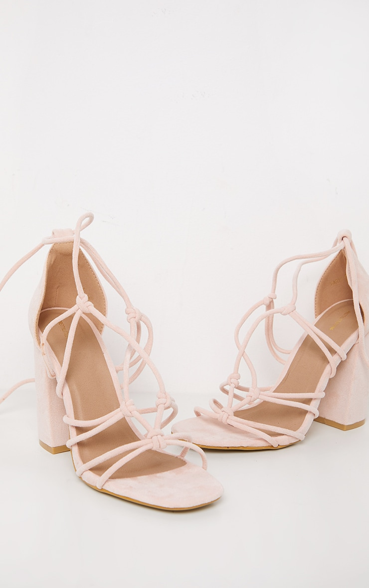 Dusty Pink Tube Knot Strappy Block Heel Sandal 3