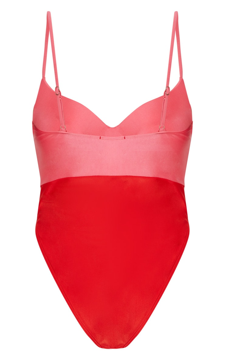 Red Two Tone Cupped Swimsuit 5