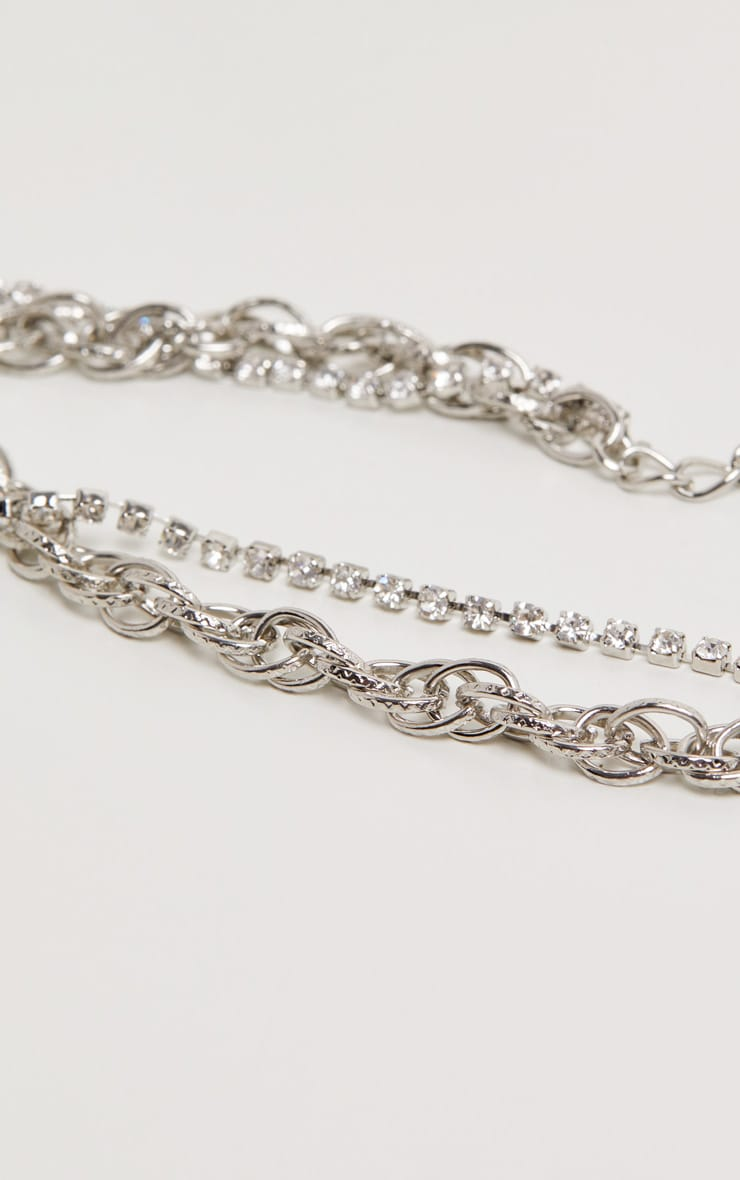 Silver Circle And Diamante Double Line Chain Anklet 3