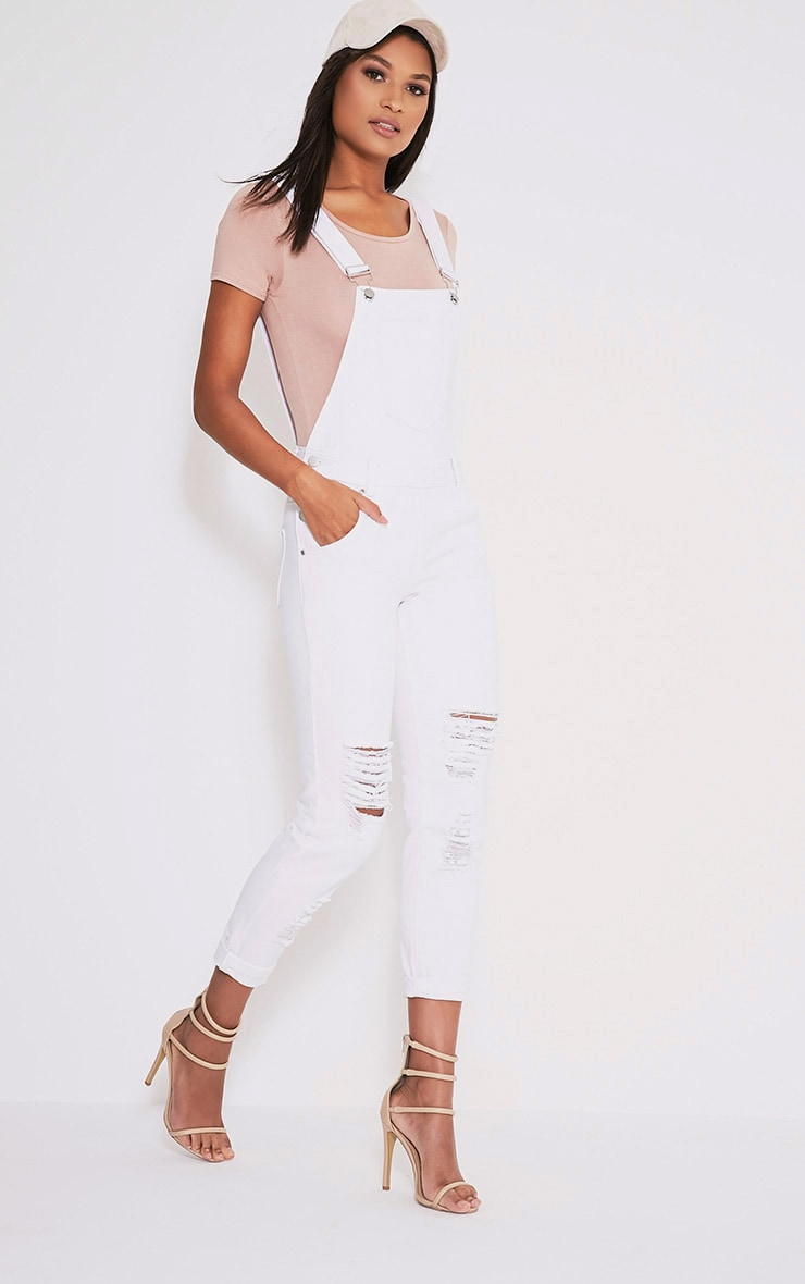 Ann White Denim Dungarees 1