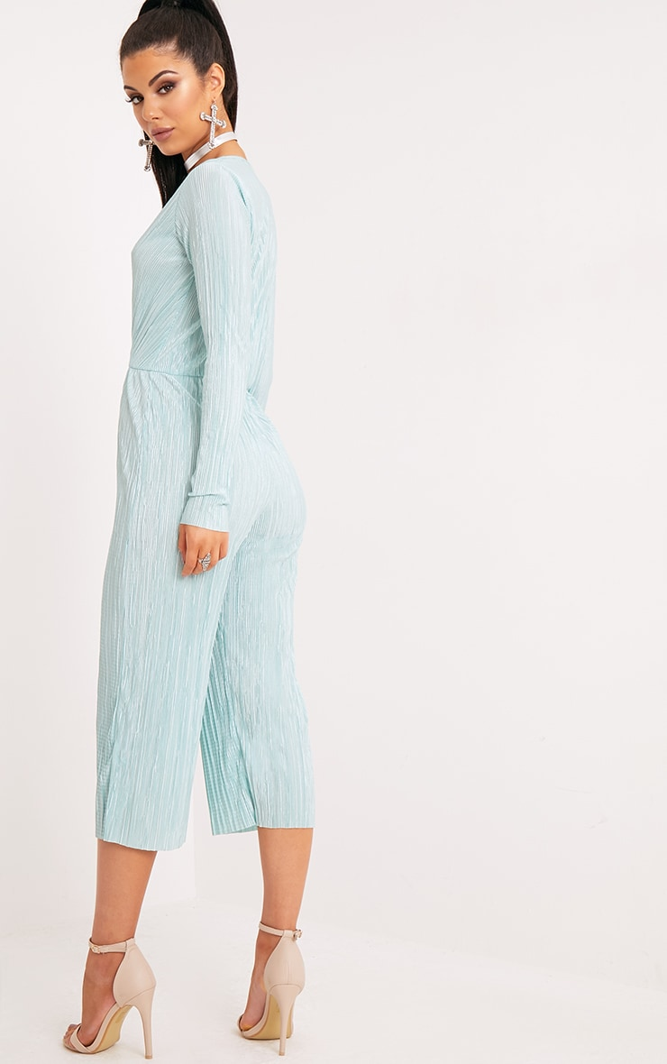Liah Sage Green Pleated Long Sleeve Wrap Culotte Jumpsuit 2