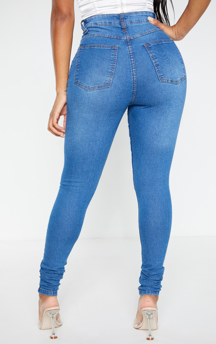 Shape Mid Wash High Waist Super Stretch Skinny Jeans 4