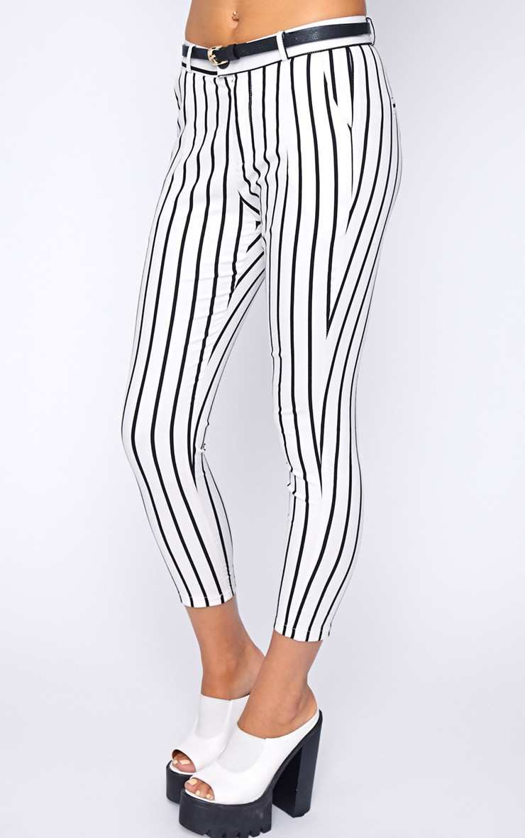 Cassie White Stripe Cropped Trouser  3