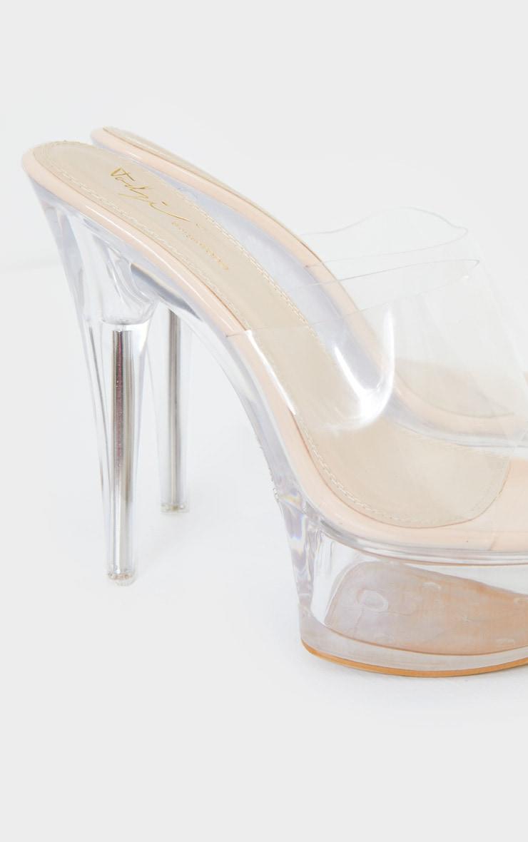 Nude Clear Extreme Platform Mule Heel 4
