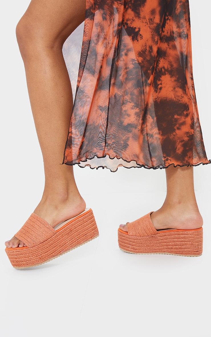 Orange Espadrille Flatform Sandals 2
