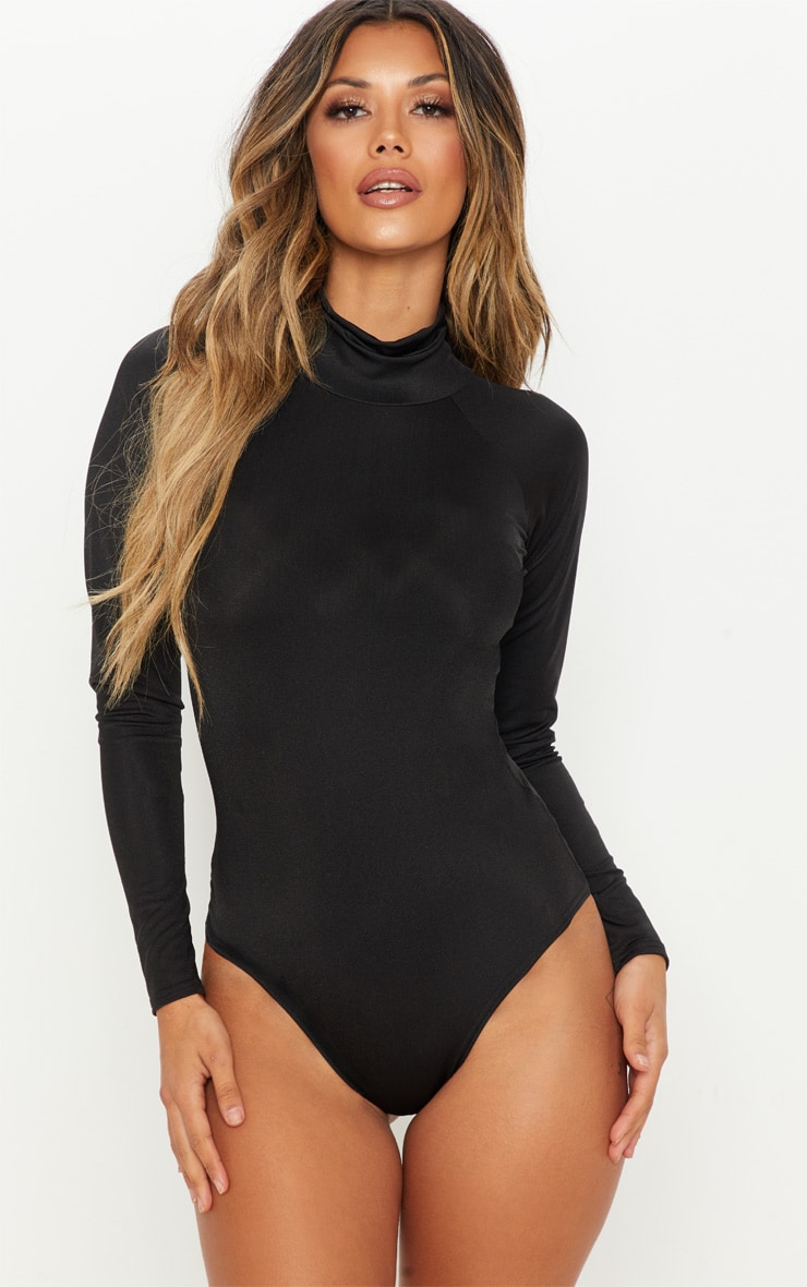 Black Seamless Roll Neck Bodysuit 1