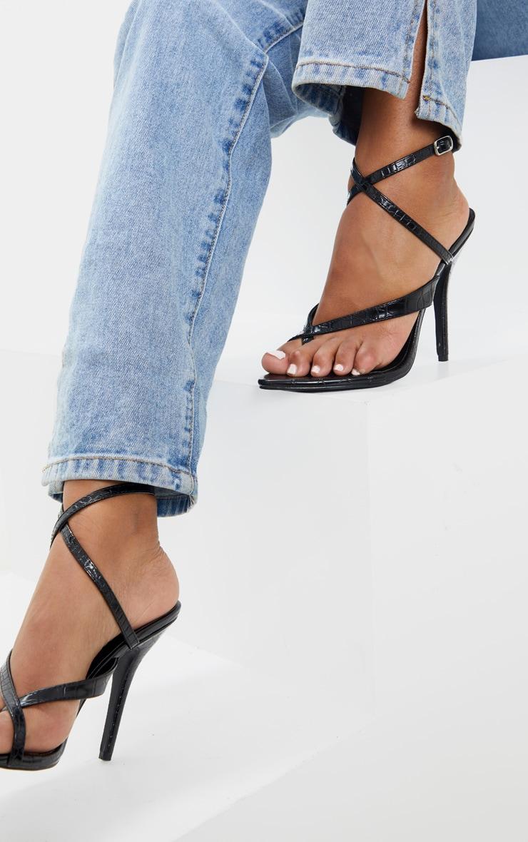 Black Croc Low Heel Toe Thong Ankle Strap Sandal 1