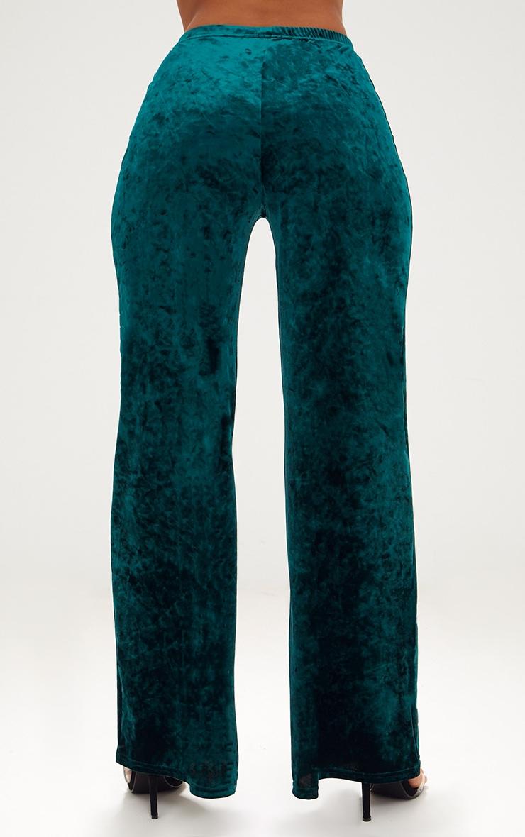 Emerald Green Crushed Velvet Suit Trouser 4