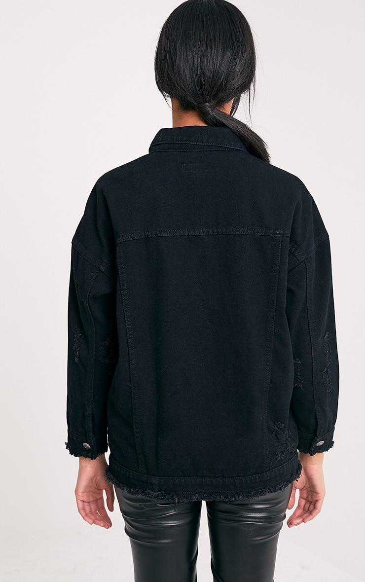 Aymeline veste en jean surdimensionnée aspect vieilli noire 2