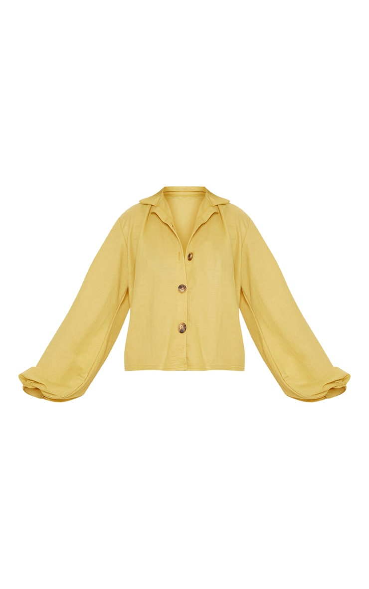 Mustard Balloon Sleeve Crop Shirt  3