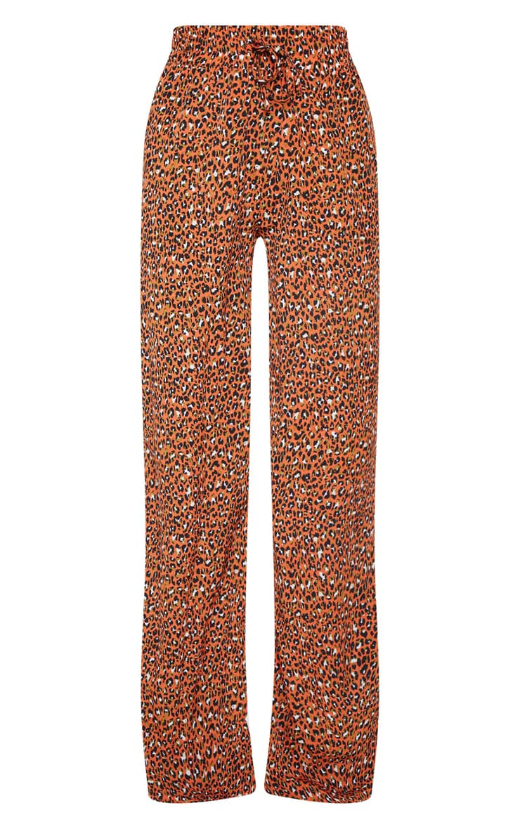 Orange Leopard Print Drawstring Wide Leg Trousers 3