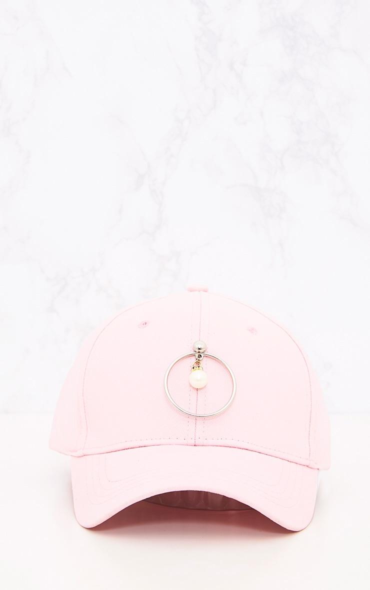 Pink Ring & Pearl Detail Cap 3