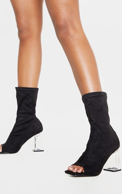 Black Clear Block Heel Peeptoe Sock Boot