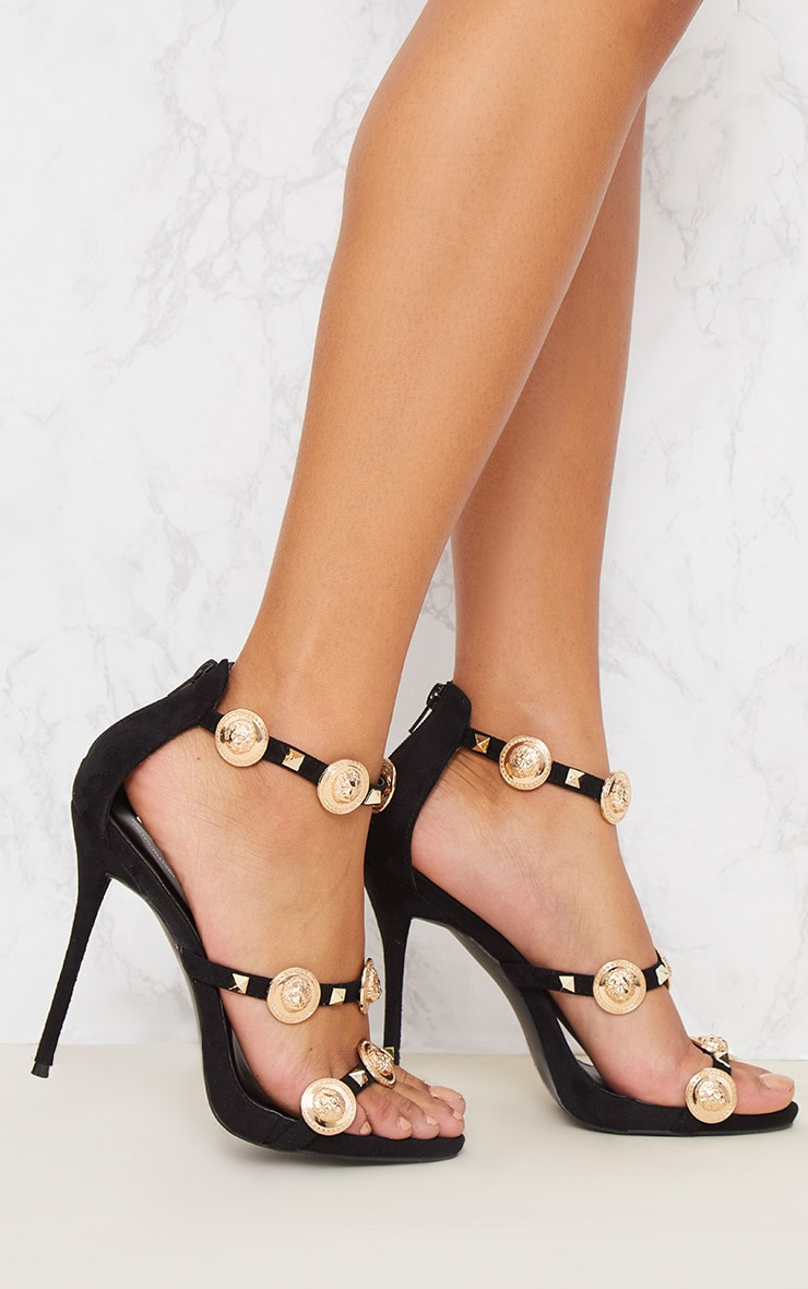 Black Coin And Stud Triple Strap Sandal