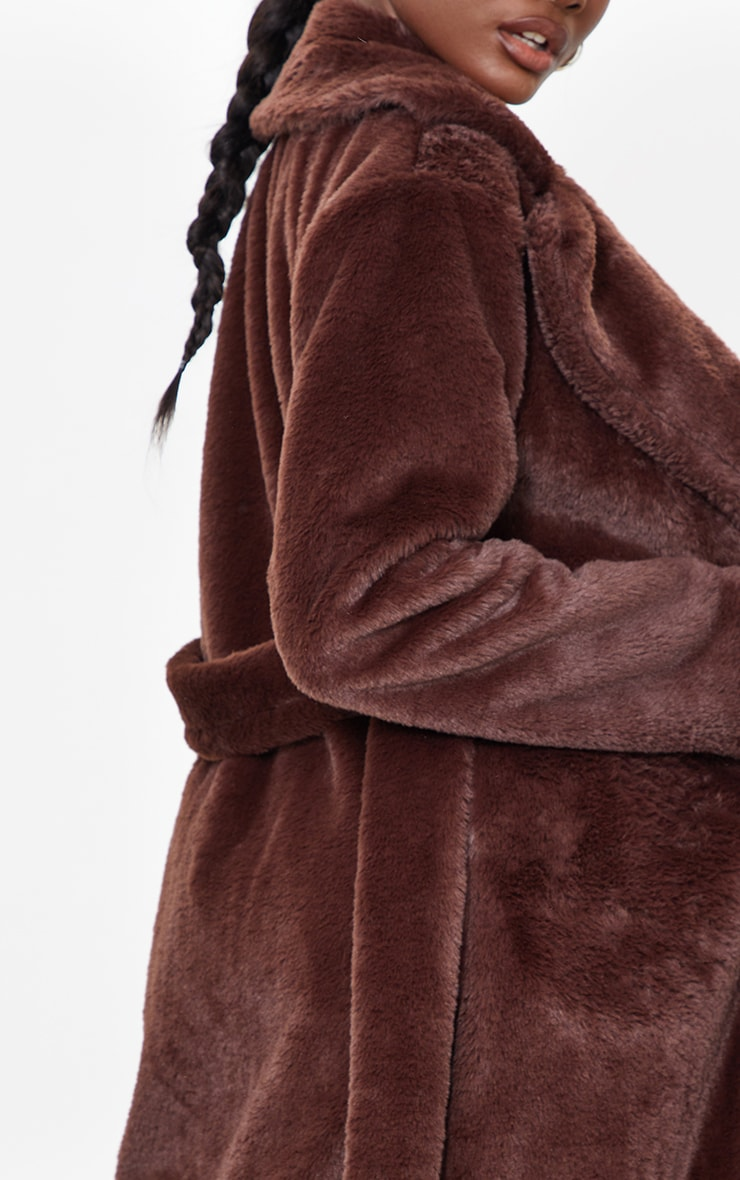Tall Chocolate Belted Faux Fur Coat 4