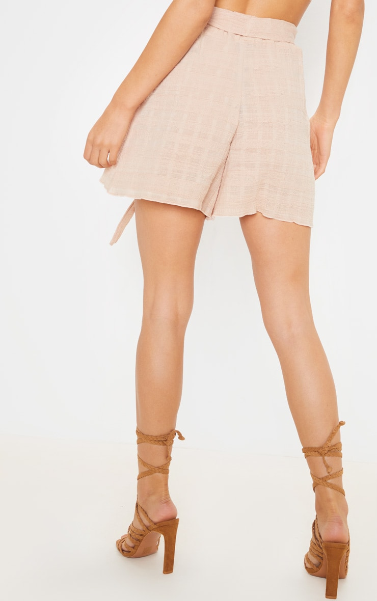 Stone Linen Feel Textured Tie Waist Short 4