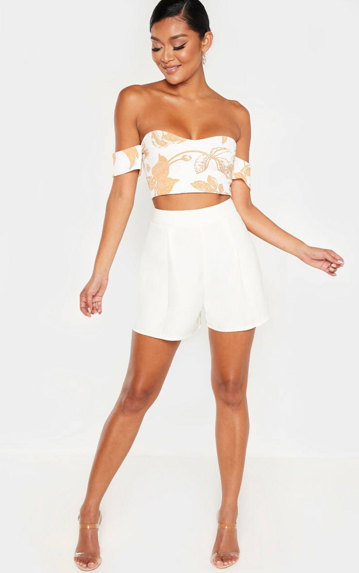 White Woven Pleat Front Tailored Short 5