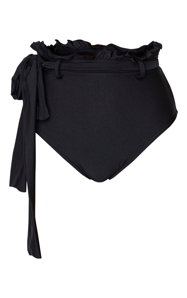 Black Paperbag Belted High Waist Bikini Bottom 3
